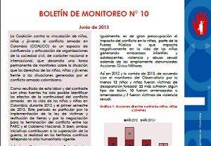 Boletín de monitoreo N° 10: Niñez y conflicto armado en Colombia.