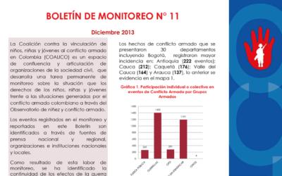 Boletín de monitoreo N° 11: Niñez y conflicto armado en Colombia.