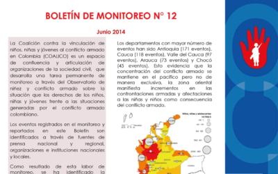 Boletín de monitoreo N° 12: Niñez y conflicto armado en Colombia.