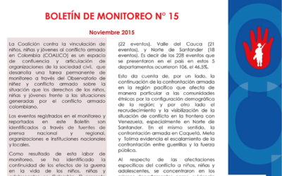Boletín de monitoreo N° 15 Niñez y conflicto armado en Colombia.