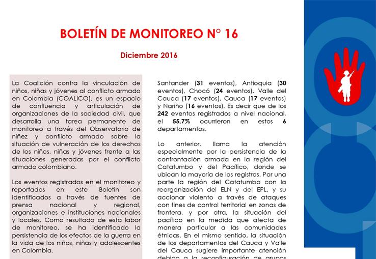 Boletín de monitoreo N° 16: Niñez y conflicto armado en Colombia.
