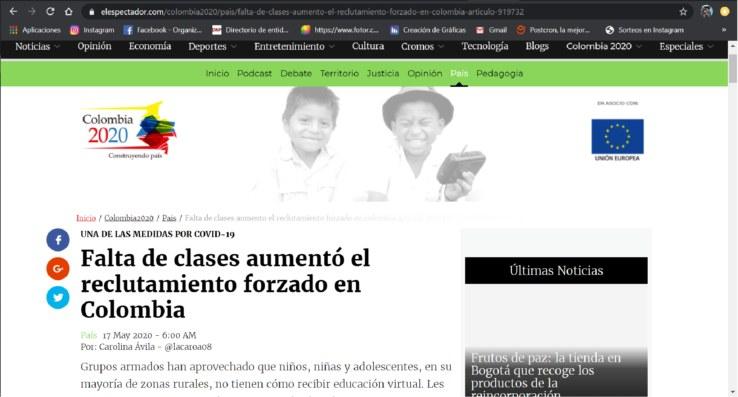 Falta de clases aumentó el reclutamiento forzado en Colombia