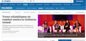 Voces colombianas en cumbre contra la violencia sexual (El Tiempo)