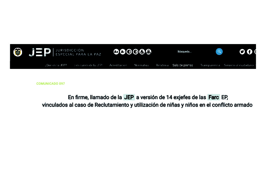 En firme, llamado de la JEP a versión de 14 exjefes de las Farc EP, vinculados al caso de Reclutamiento y utilización de niñas y niños en el conflicto armado