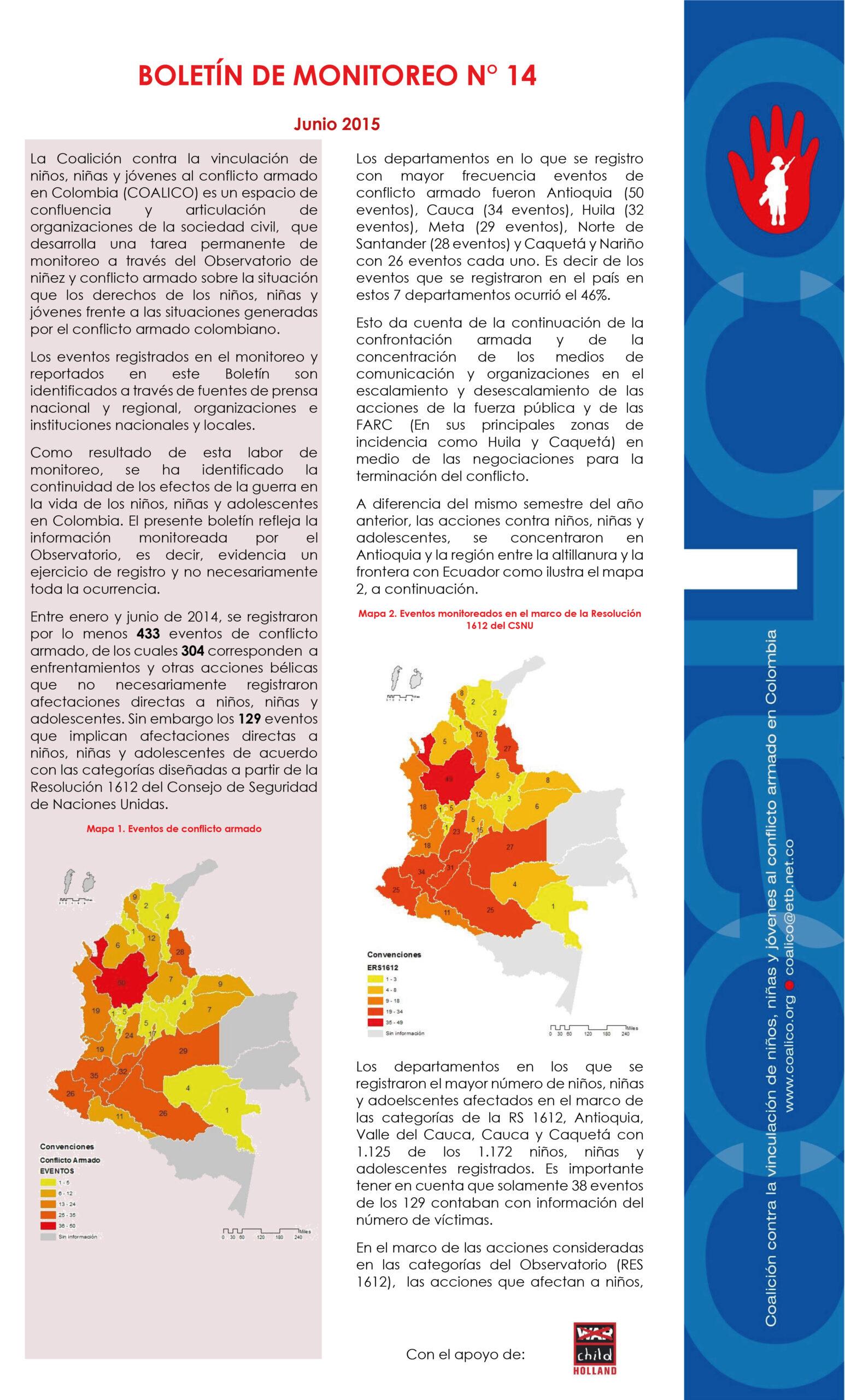 Boletín de monitoreo N° 14: Niñez y conflicto armado en Colombia.
