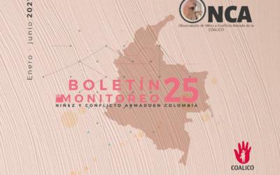Boletín de monitoreo N°. 25: Niñez y conflicto armado en Colombia
